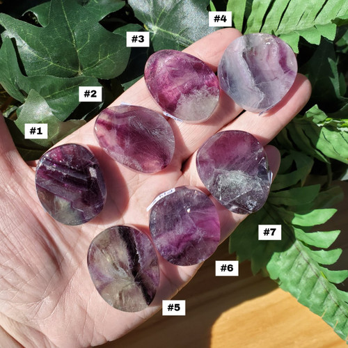 Fluorite Disks, Picture of 7 Disks, front side smooth and polished