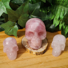 Rose Quartz Skulls,  small and medium