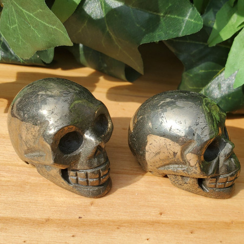 Pyrite Skulls, side view