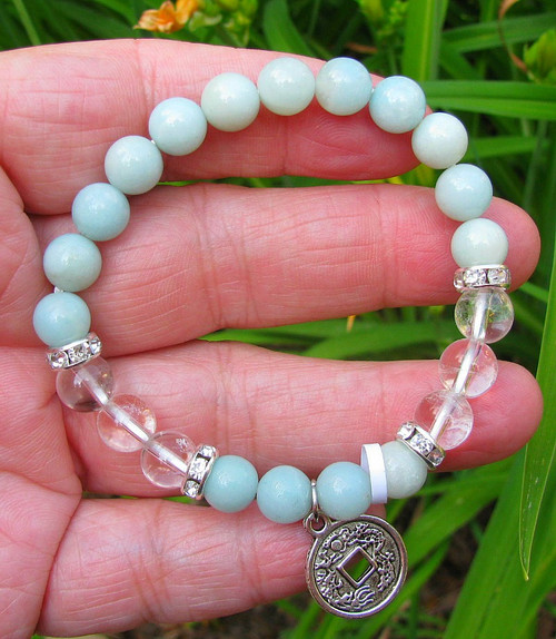 16 Green Amazonite Beads with 6 Clear Quartz beads with or without Chinese Coin