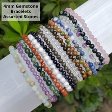 4mm Crystal Beaded Bracelets - Gemstone Bracelets - Assorted Stones