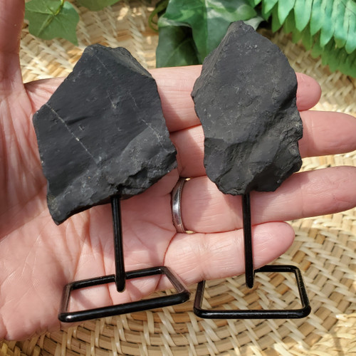 Shungite on a Metal Stand