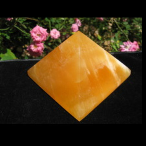 "Orange Calcite Pyramid, 3"" Base"