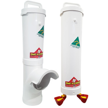 Dine a Chook Feeder and Drinker Twin Cup Kit. Designed for small flocks of up to 8 birds.