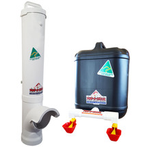 Large Chicken Feeder and Drinker Kit. 4.7 L Chicken Feeder and 20 L Drum Drinker with Twin Drinker Cups. Australian-made, quality products. Contaminant-free, UV-treated plastic. Reduce the work of keeping backyard chickens wherever you are - Dunedin, Auckland, Nelson, Christchurch! Registered shipping to NZ daily.