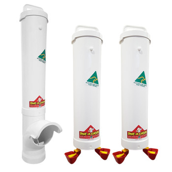 Large Chicken Feeder and Two 4 Litre Twin Cup Automatic Chicken Drinkers
