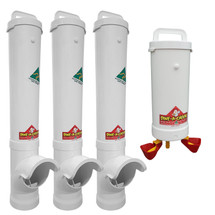 Chicken Feeder and Drinker Kit - 3 x Waste-Reducing Chicken Feeders + 1 x Automatic Chicken Waterer for Mains Pressure. Australia-made for reliable quality!