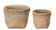 """Rosemary"" Cement Basket Pots"