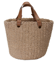 """Basil"" Cement Basket Pot with Handles"