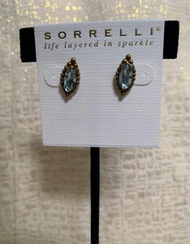 Blue Marquise and Brass Plated Stud Earrings