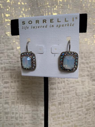 Cushion Cut Blue and Sterling Silver Drop Earrings