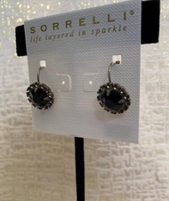 Black and Crystal Cluster Drop Earrings