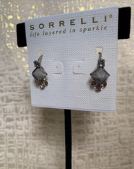 Grey, Pink and Crystal Cluster Drop Earrings
