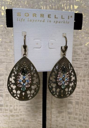 Ornate Brass Plated Pastel Cluster Teardrop Drop Earrings