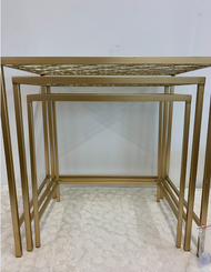 Glass Top Gold Nesting Table Set