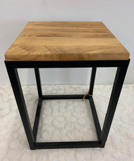 Small Cubic Wood-Top Side Table
