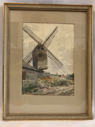 "11""x15"" Original Windmill Painting Sourced in Brussels Belgium"