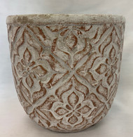 Carved Cement Pot- Sm