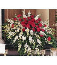 Red and White Casket Arrangement