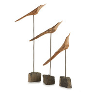"""The Flock"" Abstract Carved Driftwood Bird Figurines"