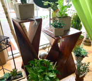 Wooden Geometric End Table