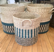 Teal Accent Wicker Basket