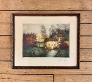 Original Etching of a Water Mill by Marcel Augis
