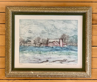 "Original Etching, ""Red Farm,"" by Katherine McCabe"