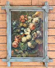 Vintage Floral Print with Carved Frame