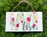 """Floral """"WI Tosa"""" 6.5x3.5 Wooden Hanging Sign"""