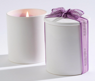 Lavender White Ceramic Candle Jar with Lid