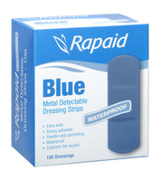 Rapaid Blue Detectable Extra Wide Strips Pkt 100