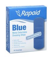 Rapaid Blue Detectable Extra Wide Strips Pkt 50