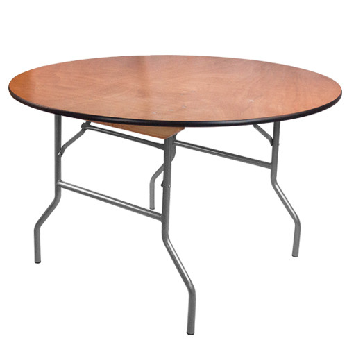 Banquet Tables | 4 Foot Round Folding Table | Wood Folding Table