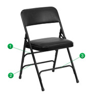 Metal Folding Chairs | Black Vinyl Padded Folding Chairs