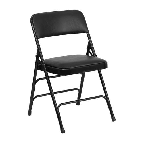 Metal Folding Chairs | Black Vinyl Padded Folding Chairs