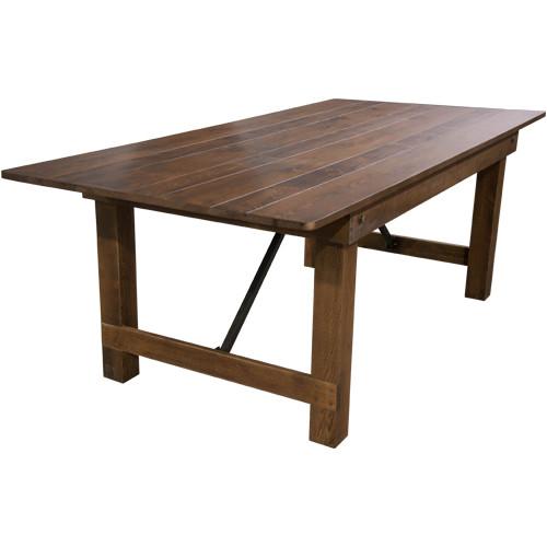 Farmhouse Table | 40x96 Barn Wood Brown | Wooden Folding Table
