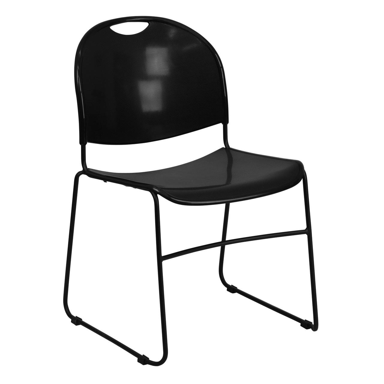 Black Plastic Stack Chair Black Frame Rut 188 Bk Gg