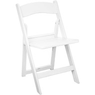 White Resin Folding Wedding Chairs With Slatted Seat [LE-L-1-WH-SLAT-GG]