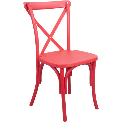 X-Back Chair   Red Resin   Cross Back Chairs