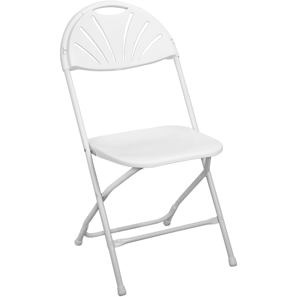 Admirable White Fan Back Plastic Folding Chair Ppfcfanback Wht Gamerscity Chair Design For Home Gamerscityorg