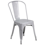 Commercial Grade Silver Metal Indoor-Outdoor Stack Chair [CH-31230-SIL-GG]