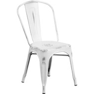Tolix Chair | Distressed White Finish | Stackable Chair