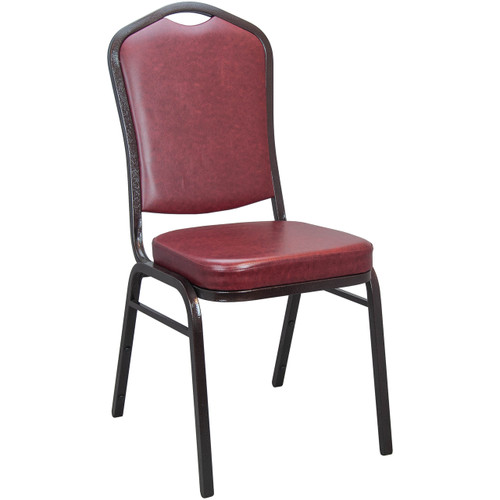 Banquet Chairs | Oxblood Vinyl | Stackable Chairs