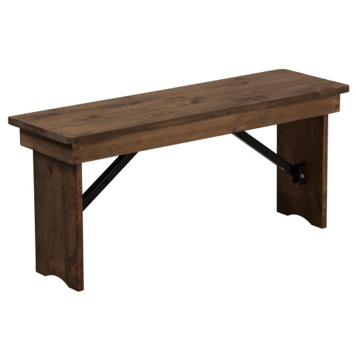 Farmhouse Table Bench | 12x40 Barn Wood Brown | Wooden Folding Table