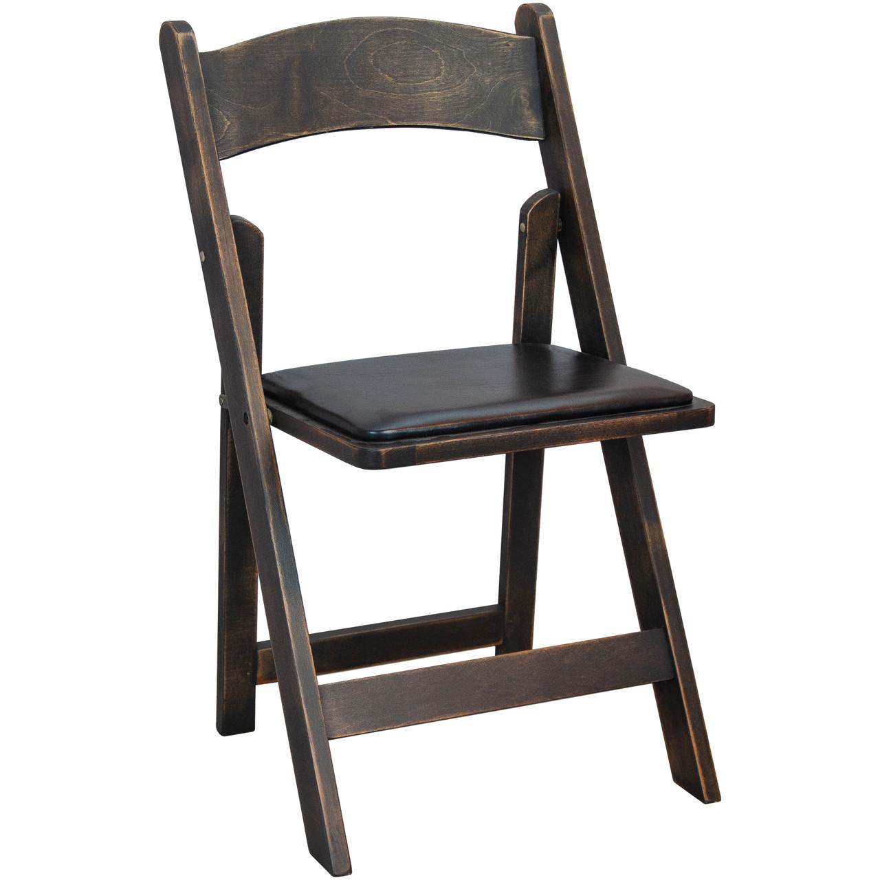Antique Black Wood Folding Wedding Chair | Padded Wedding Chairs For Sale - Antique Black Wood Folding Wedding Chair Padded Wedding Chairs For