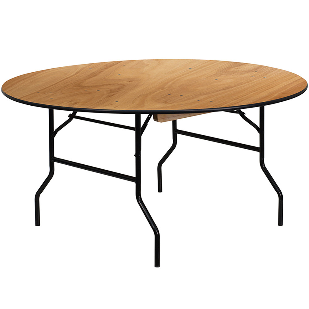 - 5 Ft. Round Wood Folding Banquet Table Folding Tables
