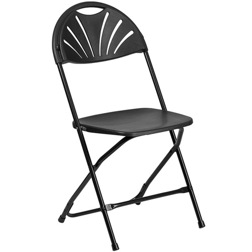 Lightweight Black Fan Back Plastic Folding Chairs | Foldable Chairs