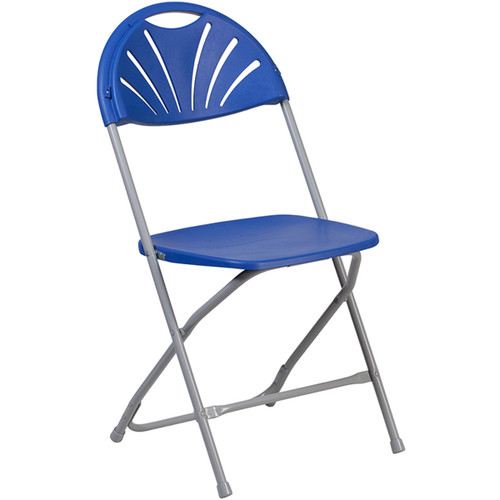 Lightweight Blue Fan Back Plastic Folding Chairs | Foldable Chairs