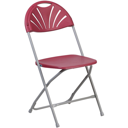 Lightweight Burgundy Fan Back Plastic Folding Chairs | Foldable Chairs